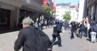 Un policier violemment lynché par des manifestants à Nantes